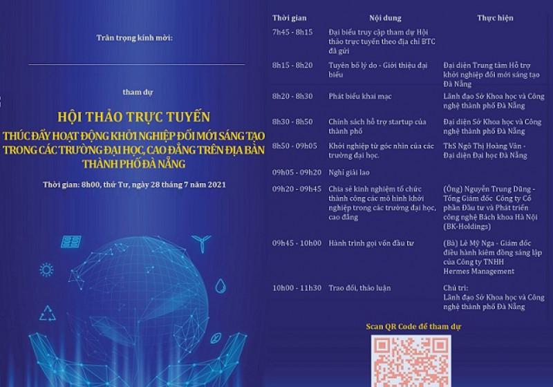 """Thư mời tham dự Hội thảo trực tuyến """"Thúc đẩy hoạt động khởi nghiệp  đổi mới sáng tạo trong các trường  đại học, cao đẳng trên địa bàn  thành phố Đà Nẵng"""""""