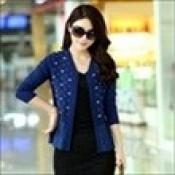 AD0074-29c: Áo khoác len xinh đẹp màu xanh